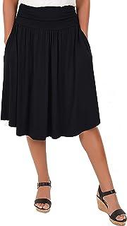 Women's Pocket Skirt | Flare Mid Length Skirt | Plus
