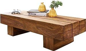 FineBuy Table basse bois massif Sheesham table de salon 120 x 30 x 45 cm | Table d'appoint style maison de campagne | Meubles en bois naturel table de sofa | Table en bois massif meubles en bois massif