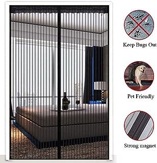 Magnetic Screen Door Black, Durable Mesh Curtain and Full Frame Velcro Fits Doors Hands Free Screen Door Net Magnets,40x80in/100x200CM