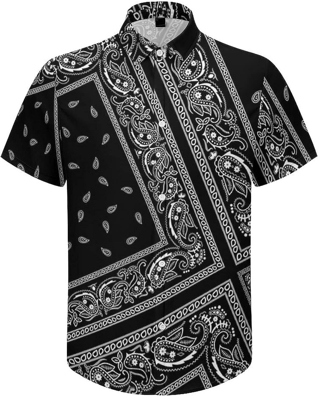 Hawaiian Shirts for Men Black Flower Print Printed Beach Shirt Hawaiian Shirts