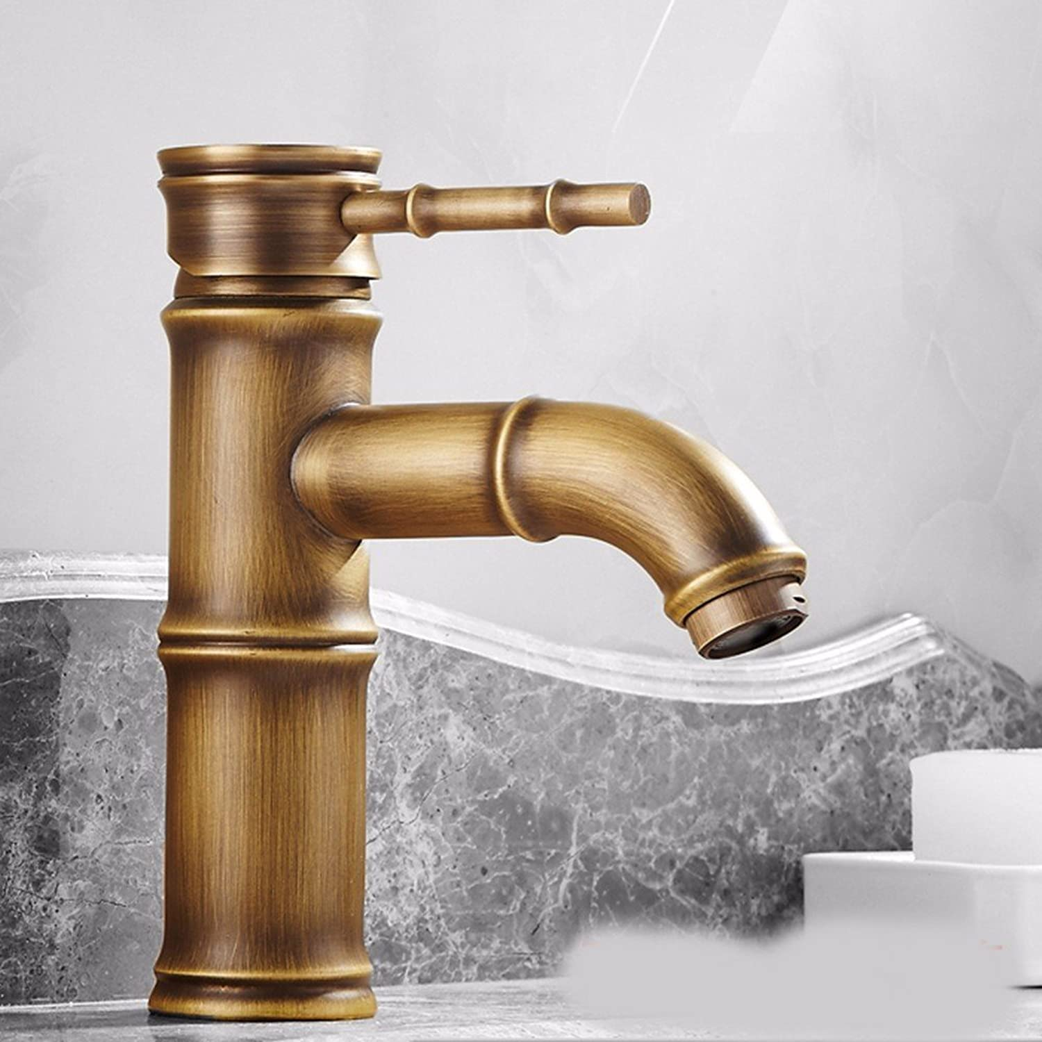 AWXJX European style retro style copper Hot and cold Wash basin Single hole bathroom Faucet