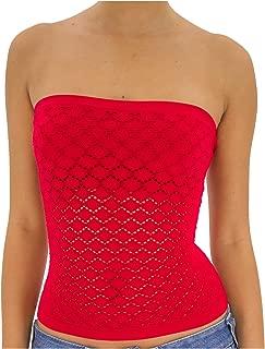 Seamless Strapless Crochet Mid Tube Top for Girls