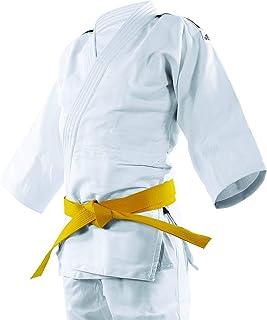 Kimono Judô Adidas Club Branco com Listras na cor Preta