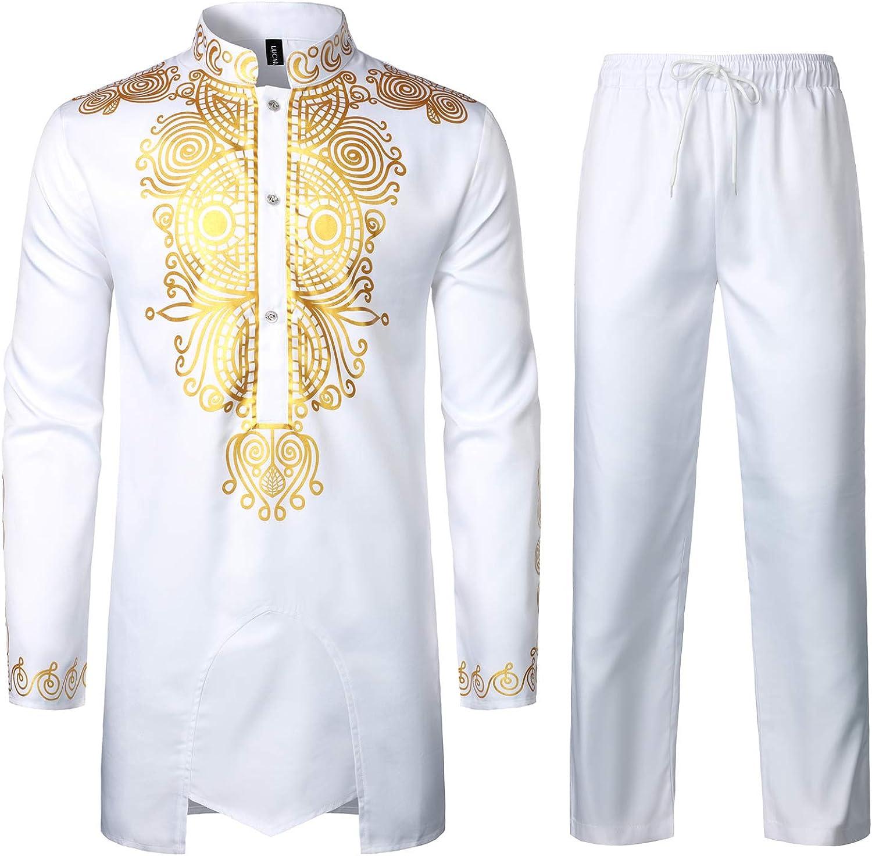 LucMatton Men's African 2 Piece Set Regular store Print Max 82% OFF Dashi Long Gold Sleeve