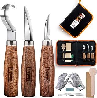 Ensemble d'outils de sculpture sur bois, 5 pièces, couteau à crochet SIMILKY + couteau en bois + couteau de mesureur + cir...