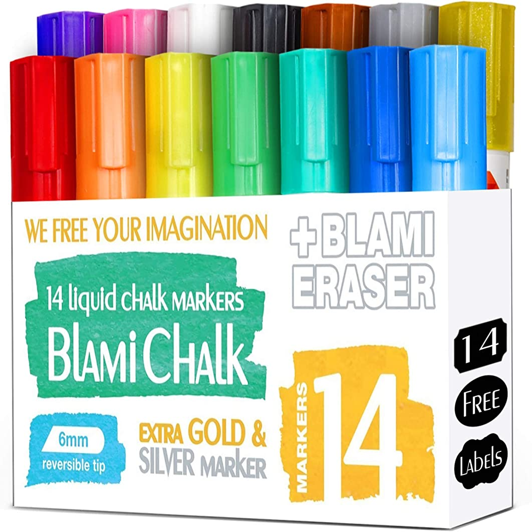 Blami Arts Chalk Markers and Chalkboard Labels Pack, 14 Erasable Liquid Ink Pens, Non Toxic Extra Gold and Silver Colors Included, Reversible Tips