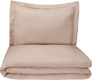 AmazonBasics Microfiber 2-Piece Quilt/Duvet/Comforter Cover Set - Single (66x90-inch), Taupe - with pillow cover