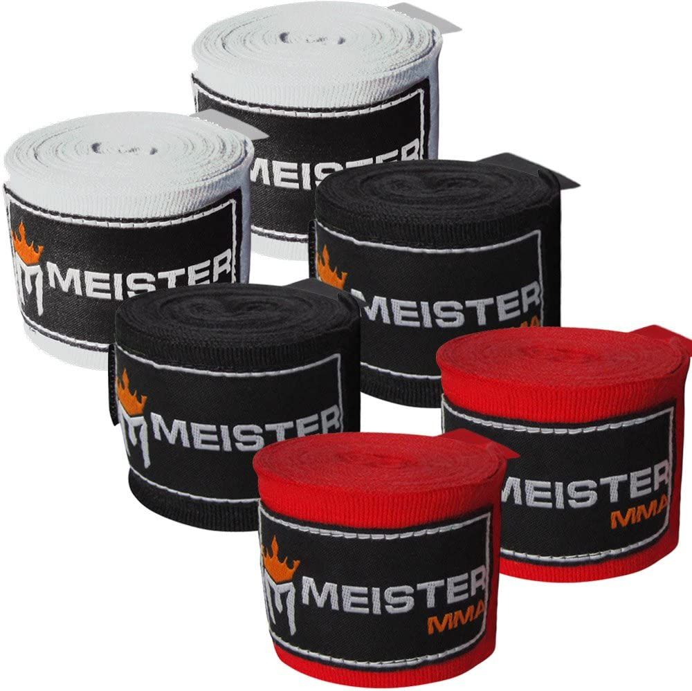 """Meister Adult 180"""" Hand Wraps for MMA & Boxing - 3 Pairs Pack : Boxing And Martial Arts Hand Wraps : Sports & Outdoors"""