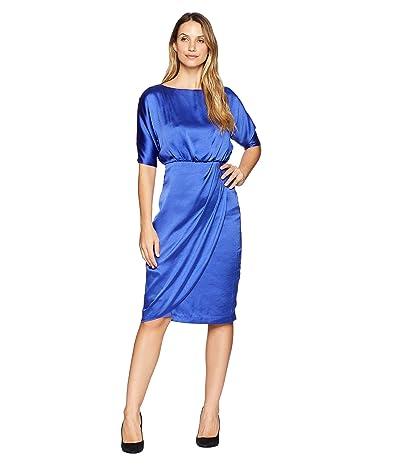 Maggy London Hammered Satin Cocktail Blouson Dress (Empire Blue) Women