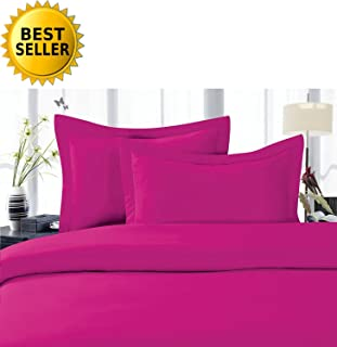 CELINE LINEN Best, Softest, Coziest Duvet Cover Ever! 1500 Thread Count Egyptian Quality Luxury Super Soft Wrinkle Free 3-Piece Duvet Cover Set, Full/Queen, Hot Pink