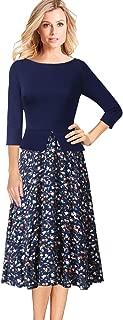 Womens Elegant Floral Print Peplum Work Casual A-Line Midi Dress