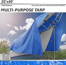 BOUYA 20' x 40' Tarp 5-mil Multi-Purpose Waterproof Reinforced Rip-Stop with Grommets, UV Resistant, for Tarpaulin Canopy Tent, Boat, RV or Pool Cover, Blue