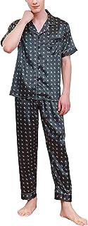 YAOMEI Mens Pyjamas Set Satin, 2019 Mens Silky Short Sleeves Nighties Couples PJ Set Sleepwear Nightwear, Lingerie Button ...