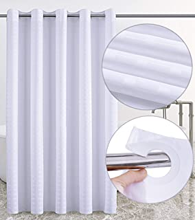 Conbo Mio Hookless Shower Curtain for Bathroom Waterproof Rust Proof with Magnet Premium ABS Flex On Rings (White, 71 x 74)