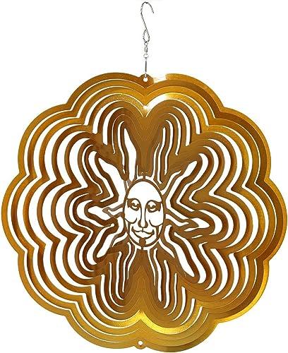 new arrival Sunnydaze Decor online sale Reflective 3D Gold Sun Whirligig Wind high quality Spinner, 12-Inch outlet online sale