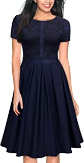 MISSMAY Women's Vintage Floral Lace Pleated Cocktail Party Fit and Flare Dress