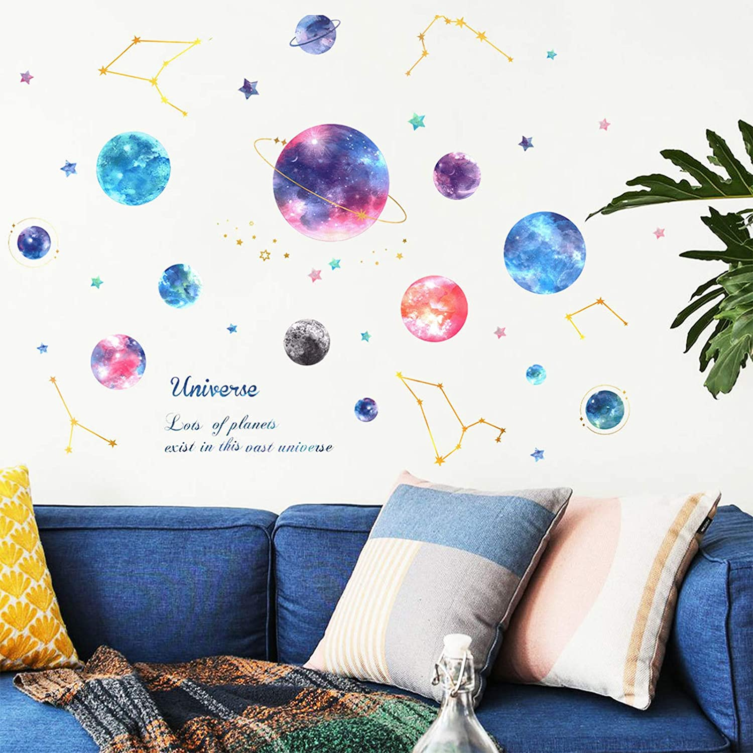 Planets Direct stock discount in The Arlington Mall Space Kids Wall Stickers Planet Watercolor
