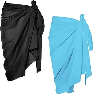 2 Pieces Women Beach Wrap Sarong Cover Up Chiffon...