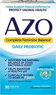 AZO Complete Feminine Balance Daily Probiotics for Women – 30 Count –..