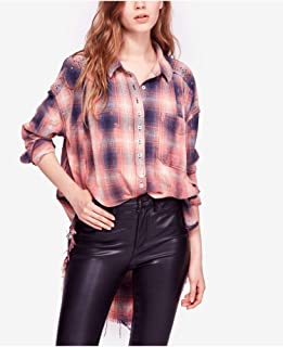 FREE PEOPLE Womens Blue Raw Hem Plaid 3/4 Sleeve Collared Button Up Top US Size: M