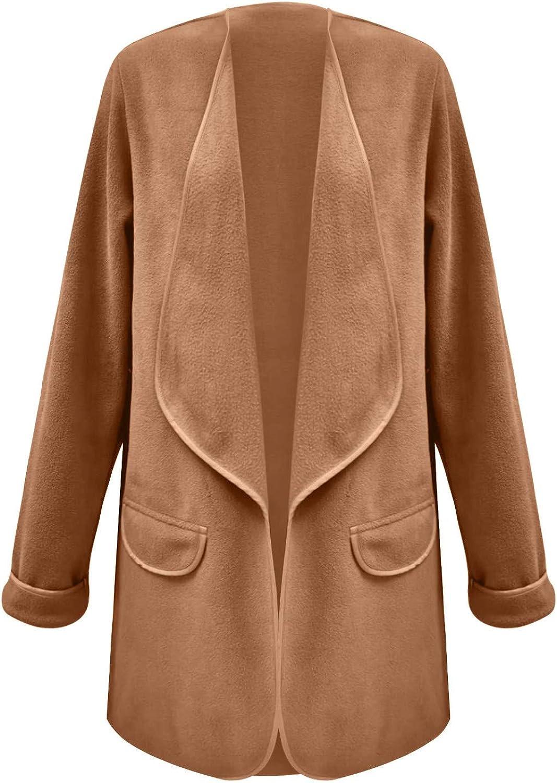 Women Elegant Fashion Max 46% OFF Solid Outerwear Plush Turn-Down Cardigan Loose Poc