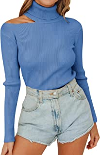 Sollinarry Women's Sleeveless One Shoulder Choker Tops Knitted Basic Cut Out Slim Shirts