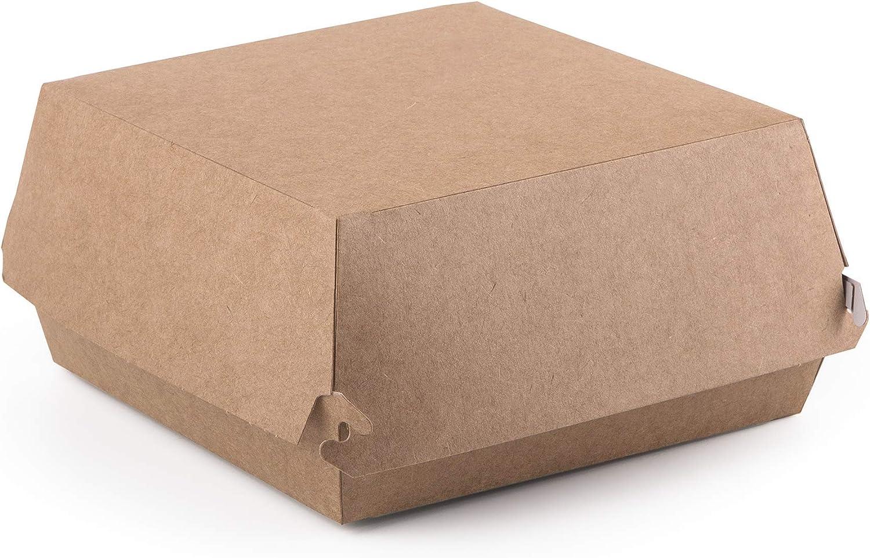 Paquete de 50 cajas de hamburguesas Kraft tamaño L, contenedor de comida rápida para llevar, caja desechable a prueba de fugas ecológicas reciclables (50 L)