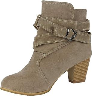 Wealsex Stivaletti Donna Con Tacco Inverno Autunno Stivali Caviglia Eleganti Camoscio Scarpe Fibbia High Heels