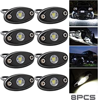 LEDMIRCY LED Rock Lights White Kit for JEEP Off Road Truck Auto Car Boat ATV SUV Waterproof High Power Underbody Glow Neon Trail Rig Lights Underglow Lights Interior Exterior Shockproof(8 PCS White)