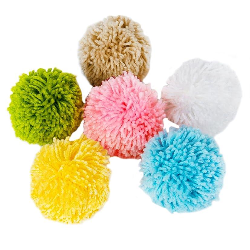 LaRibbons 10cm Woolen Fluff Ball Pom-Pom for Craft Making DIY Creative Decoration 6-Assorted Pack