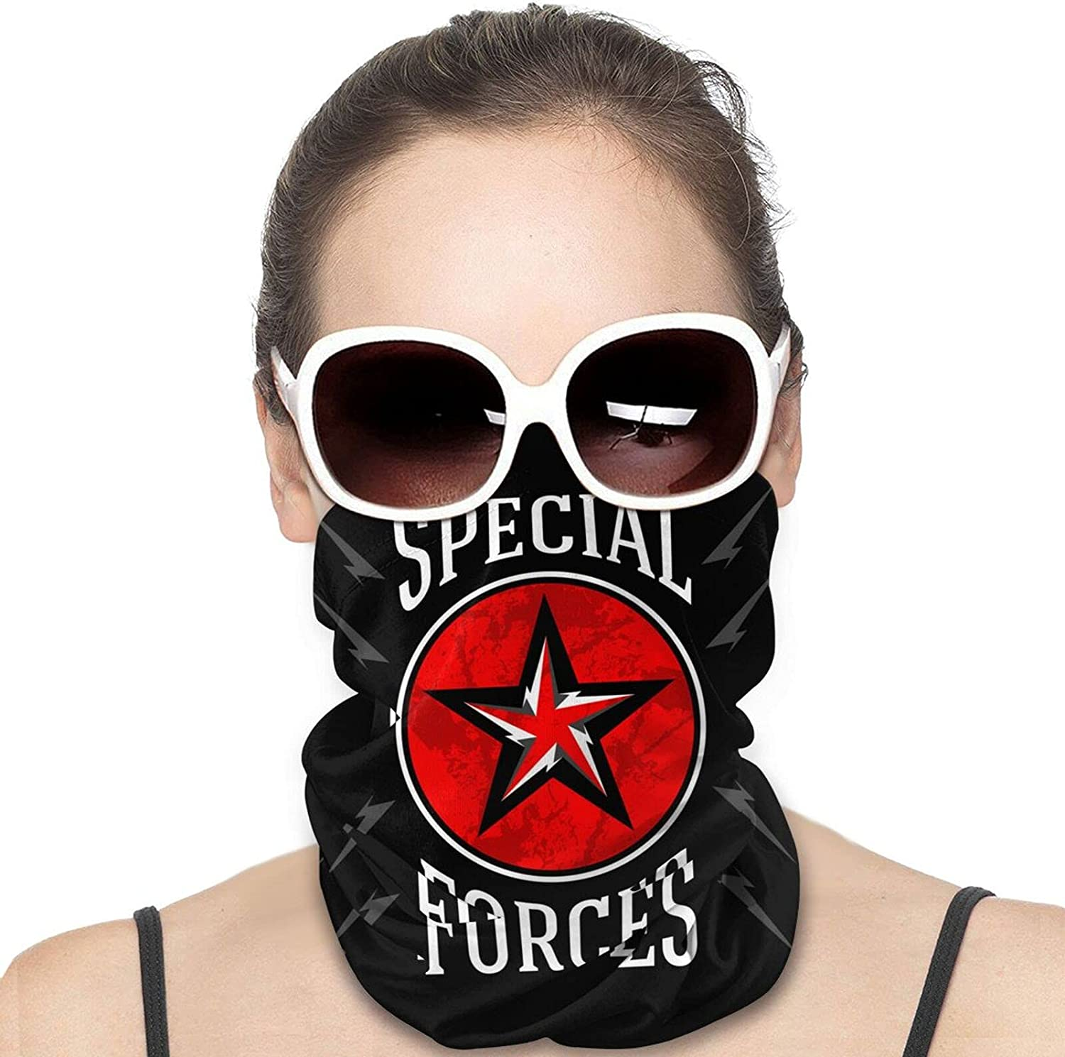 Special Forces Military Emblem Royalty Round Neck Gaiter Bandnas Face Cover Uv Protection Prevent bask in Ice Scarf Headbands Perfect for Motorcycle Cycling Running Festival Raves Outdoors