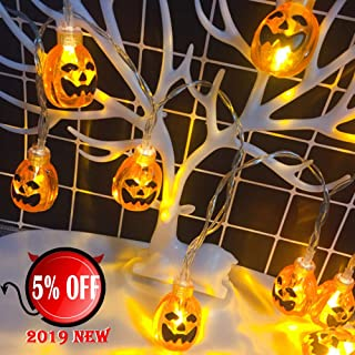 GIMISONIC Halloween Pumpkin String Lights, Waterproof 12ft 30LEDs 3D Jack-O-Lantern Pumpkin Lights with Remote Control, Battery Operated 8 Modes for Halloween Decorations Outdoor Indoor Party