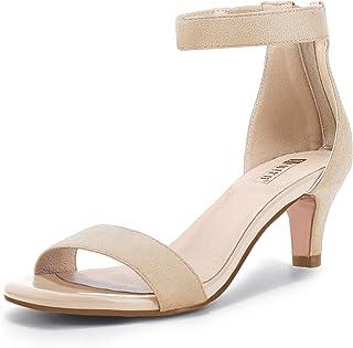 Women's Low Kitten Heels Sandals Ankle Strap Open Toe...