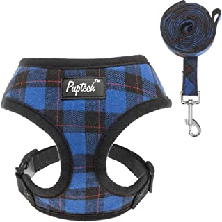 PUPTECK Soft Mesh Dog Harness with Leash - Plaid Adjustable Puppy No Pull Harnesses - Pet Padded Walking Vest