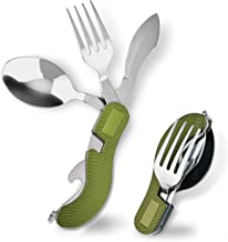 Powerdelux Camping 4-in-1 Fork Knife Spoon Bottle Opener Set,Stainless Steel Camping Utensils Cutlery Set, Foldable Camping Flatware for Picnic Travel Hiking BBQ