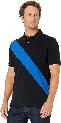Short Sleeve Diagonal Embossed Logo Polo