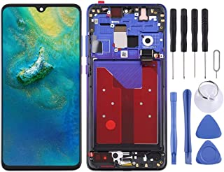 Huawei's spare parts LCD Screen and Digitizer Full Assembly with Frame for Huawei Mate 20 (Color : Blue)