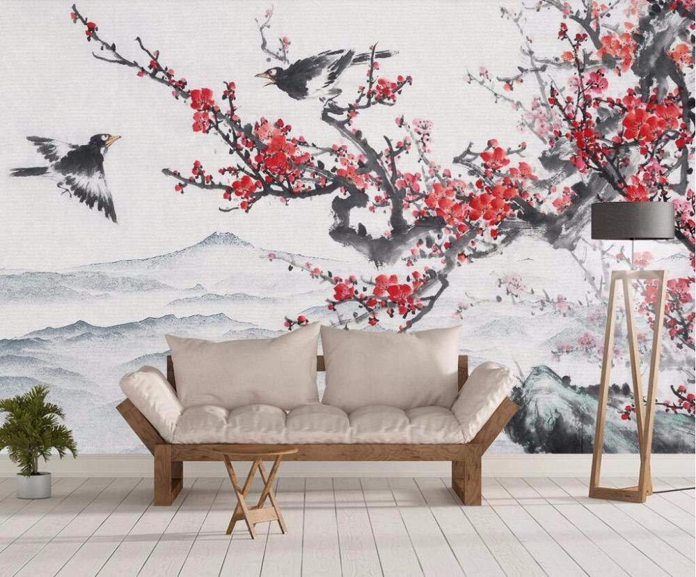 Amazon 山笑の美 3d壁紙カスタム壁紙中国の花と鳥インク梅風景テレビソファ背景壁壁画 350 250センチ 壁紙