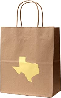 6 Texas Gift Bag with Gold Foil State of Texas Shape Kraft Gift Bag Cub Size 8 x 4 3/4 x 10 1/4 Inches