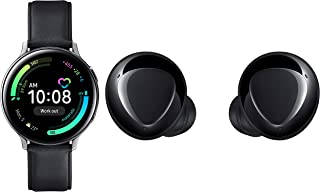 Samsung Galaxy Watch Active 2 (Bluetooth, 44 mm) - Silver, Steel Dial, Leather Straps with Buds+