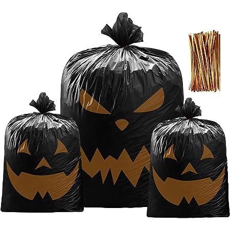 Aneco 3 Bolsas De Plástico Con Diseño De Calabaza Para Halloween Color Negro Home Kitchen
