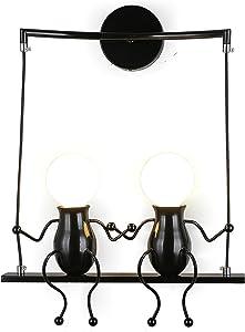 Lámpara para habitación infantil Vintage lámpara de metal lámpara de pared industrial latón acabado simple cabeza de cobre lámpara de pared con casquillos E27 Socket para casa, bar, restaurantes, cafetería, club Decoración, habitación infantil …