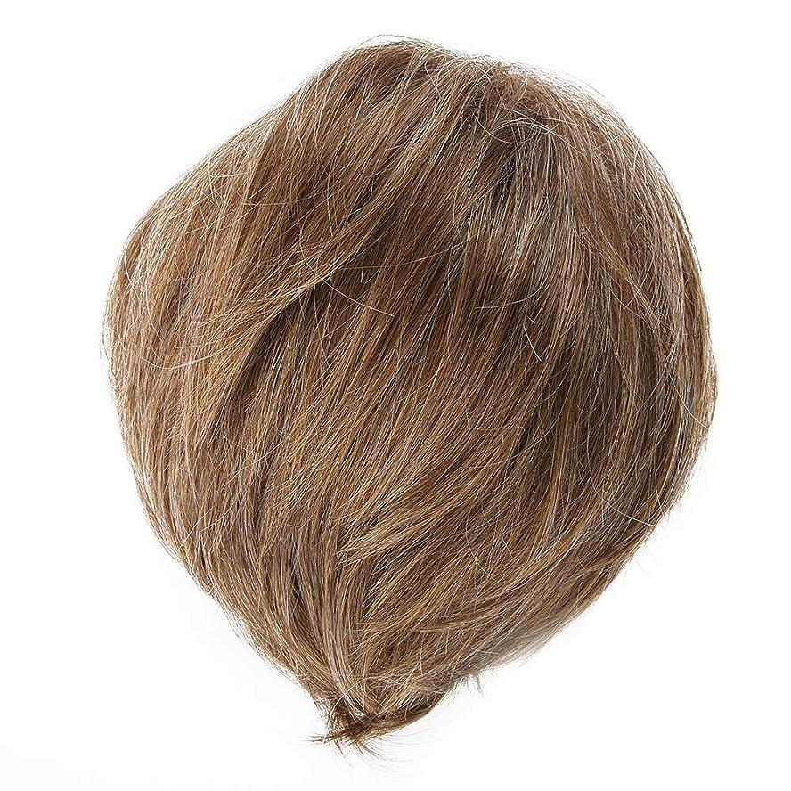 ハードウェア汚染宣言Semmeブラウンショートウィッグ、ボブスタイルナチュラルフルヘッド高温抵抗ファイバーウィッグファッション白または黒人女性日常のヘアスタイリング
