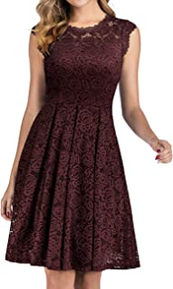 Women's Short Homecoming Dress Vintage Floral Lace Cocktail Swing Dress with Cap-Sleeves