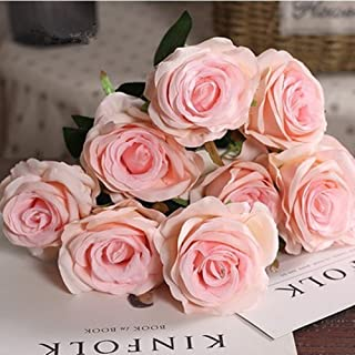 Shine-Co Artificial Rose Flowers 9 Heads Arrangement Bouquet PU Touch Glorious Moral for Home Office Parties and Wedding (Champagne Pink)
