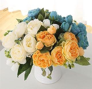 PPCP 1 Bundle Silk Peony Bouquet Home Decoration Accessories Wedding Party Scrapbook Fake Flowers DIY Craft Artificial Ros...