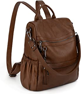 UTO Women Backpack Purse Anti-Theft PU Leather Convertible Ladies Rucksack Tassel Zipper Pocket Shoulder Bag