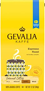 Gevalia Espresso Blend Coffee, Dark Roast, Ground, 12 Ounce Bag (Pack of 6)