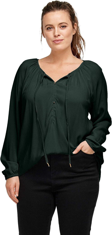 ellos Women's Plus Size Tie Neck Tunic Peasant Fixed price for sale Ranking TOP11