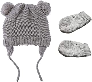 ad94ca8ac28438 CQSM Baby Boys Girls Beanie Hat Mitten Set with Earflaps Infant Toddler Knit  Fleece Lining Beanie